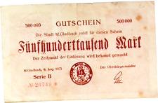 1923 Germany GLADBACH 500.000 Mark Banknote
