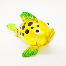 Yellow Puffer Fish Hand Painted Blowing Glass Handmade Decor Animal Arts Blown