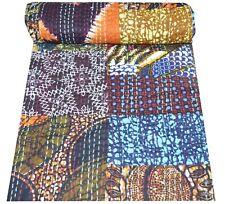 Indian Handmade Multi Print Patchwork Kantha Quilt Blanket Bedding Bedcover Twin
