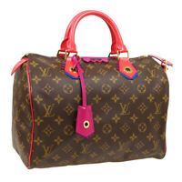 LOUIS VUITTON MONOGRAM TOTEM SPEEDY 30 HAND BAG DU2175 FLAMINGO M41665 AK31491h