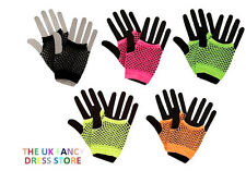 Neon Hot Pink Long Fish Net Fingerless Gloves 80s Party Goth Hen Fancy Dress