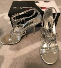 New Beverly Feldman Silver Metallic Snake/Crystal $250 Evening Sandals Size 10