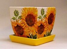 Made To Order, Handmade Decoupage Square Ceramic Flower Pot, Sunflowers, 4""