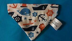 Slide on dog bandana size S in white with sea theme  polycotton