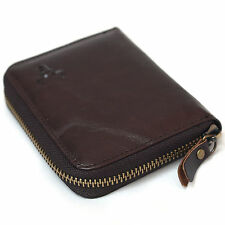 New Mens Leather Wallets Zip Around Purse Coin Pocket Credit Card Organizer