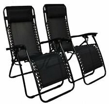 Black Zero Gravity Twin Pack Recliner Chairs Patio Furniture Garden Sun Lounger