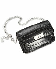 STEVE MADDEN Black M/L CROC-EMBOSSED CHAIN Belt Bag Handbag