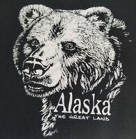 Vintage Bear Tshirt Alaska The Great Land Black Size XL Tennessee River USA