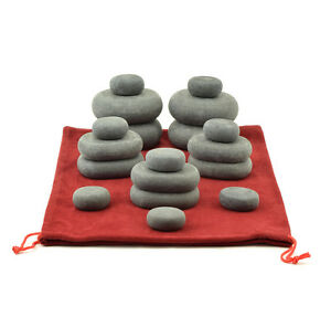 MassageMaster HOT STONE MASSAGE SET: 18 Basalt Stones in Drawstring Bag