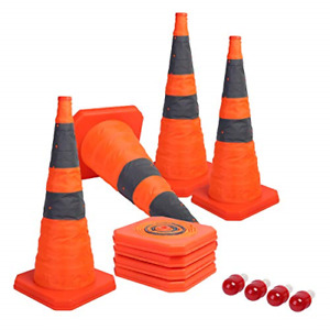 Sunnyglade [4-Pack] 28 inch Collapsible Traffic Cones with LED Light Multi Pop