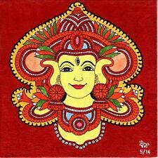 Kerala Mural Durga Painting Handmade South India Religion Ethnic Miniature Art