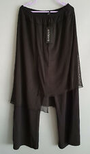 BNWT Womens Sz 16 Eversun Black Elastic Waist Long Pants With Skirt