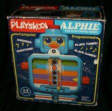 Vintage Bleu 1978 Alphie Playskool Son Apprentissage Jouet Speaks Parler Cartes