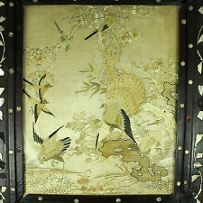 V. FINE 19THC CHINESE EMBROIDERED SILK PANEL TEXTILE WOOD TABLE STAND EMBROIDERY
