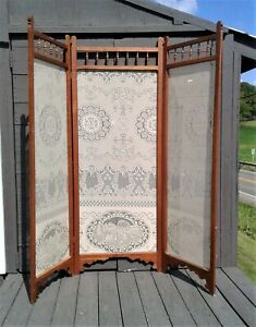 Antique Victorian Cherry 3 Panels Folding Room Divider Dressing Screen w Lace
