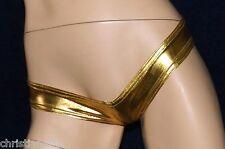 SUPER sexy lucentezza Mutandine, oro metallizzato, Mutandine, Slip, Hot Pants, Tg. XS-S, NUOVO