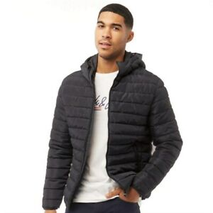 JACK AND JONES Men's Wing Hooded Puffer Jacket Black Size X Large New With Tags