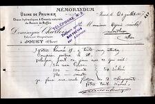 """JOUET-sur-l'AUBOIS (18) CHAUX & CIMENT de BEFFES """"Dominique CHARLOIS"""" en 1907"""