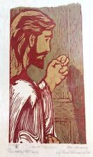 Phero Thomas Jesus Christ Knocking Wood Carving Screen Print in Red Gold 14 x 8