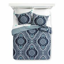 Mudhut Akina Duvet Cover & Sham 2pc Set ~ Twin ~ Navy Blue Aqua -Tassles on Sham