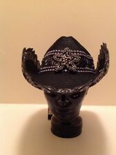 """Western  Cowgirl  """"Whitall & Shon"""" Black Embroidered Sequin Hat!"""