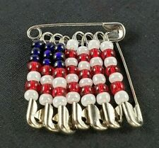 American U.S. Beaded Safety Pin Flag Brooch Silver Tone Patriotic Red White Blue