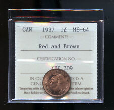 1937 Canada Small Cent ICCS Certified MS64 RB DCD124