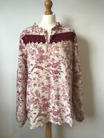 Laura Ashley Red Beige Floral Toile Linen Tunic Smock Top 18 Lagenlook Arty Boho
