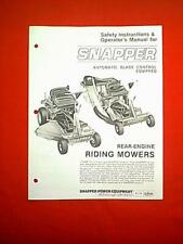 SNAPPER REAR ENGINE RIDING MOWERS OWNER'S MANUAL DATED 8/82