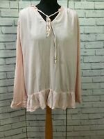 Per Una Pink  Womens Smock Tunic Shirt Long Sleeve Top Size UK 14