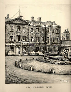 Vintage Print: RADCLIFFE INFIRMARY, OXFORD: Pencil Drawing after GRAHAM CLILVERD