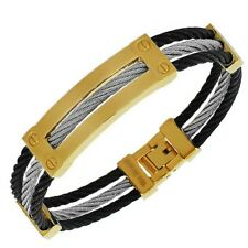 Stainless Steel Black Silver Gold-Tone Bangle Bracelet with Clasp