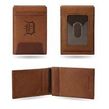 Detroit Tigers Premium Brown Leather Money Clip Front Pocket Wallet Baseball