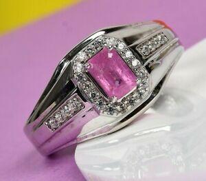 Natural Ilakaka Hot Pink Sapphire  GENUINE WHITE SAPPHIRE Men Engagement  Ring.