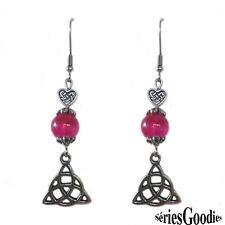 Boucles d'oreilles celtique gothic mariage pendentif triquetra - perle agate
