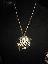 BETSEY JOHNSON LARGE GOLD FISH NECKLACE
