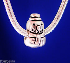 Snowman Christmas Jolly Holiday Winter Silver European Charm Bead fit  bracelet