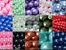 6mm 100pcs, 8mm 50pcs, 10mm 25pcs round glass pearl loose beads jewel making