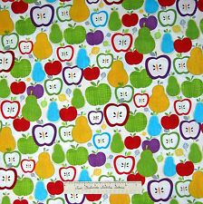 Food Fabric - Summer Apple Pear Toss C1935 White - Timeless Treasures YARD