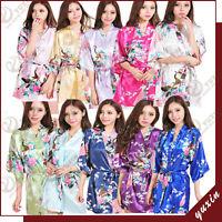 15 colors High Quality short Peacock Bride Kimono Robe satin Night dress Gown