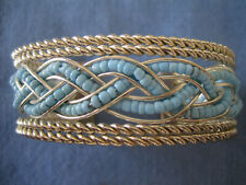 """wide cuff brct, Excellent cond. Mexico Sterling Silver w turquoise beads 1"""""""
