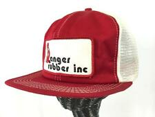 vintage mens red white RANGER RUBBER INC trucker hat cap mesh work ONE SIZE