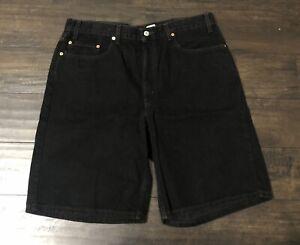 Vintage Levis 550 Black Denim Jean Shorts Relaxed Fit Mens 38