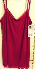 JOCKEY RED NO PANTY LINE PROMISE TACTEL LACE CAMISOLE SIZE LARGE  NEW  TAGS