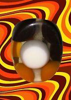 A226✪ 60er 70er Jahre Hippie Ring Flower-Power Psychedelic Retro braun orange