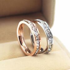 18K Rose Gold/Silver Titanium Steel CZ Band Men's Women's Wedding Ring Size 3-10