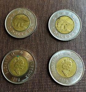 Lot of 4 - 4 Coins Canada Polar Bear Circulated 1996 Usable