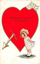 B32/ Valentine's Day Holiday Postcard 1916 Springfield Ohio Heart Cute Girl 17