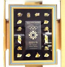 Vintage 1984 Sarajevo XIV Olympic Winter Games Framed Limited Edition Pin Set