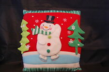 "Skating Snowman Holiday Red Christmas Throw Pillow Trees Snowflakes 12"" X 12"""
